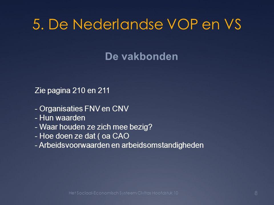 5. De Nederlandse VOP en VS Het Sociaal-Economisch Systeem Civitas Hoofdstuk 10 8 Zie pagina 210 en 211 - Organisaties FNV en CNV - Hun waarden - Waar