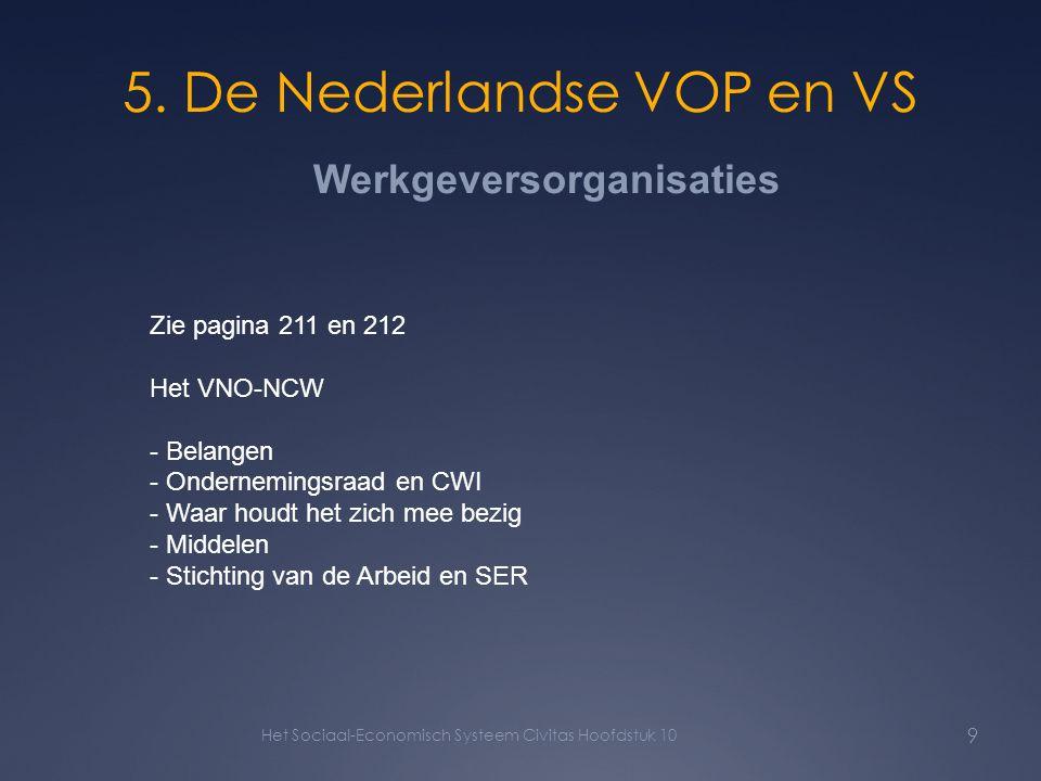 5. De Nederlandse VOP en VS Het Sociaal-Economisch Systeem Civitas Hoofdstuk 10 9 Zie pagina 211 en 212 Het VNO-NCW - Belangen - Ondernemingsraad en C