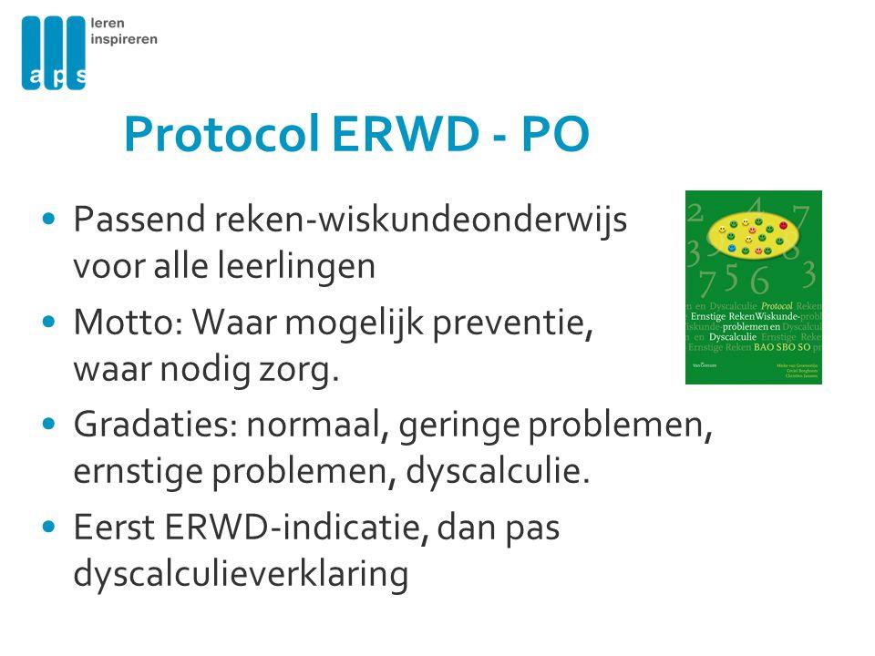Protocol ERWD - PO Passend reken-wiskundeonderwijs voor alle leerlingen Motto: Waar mogelijk preventie, waar nodig zorg. Gradaties: normaal, geringe p
