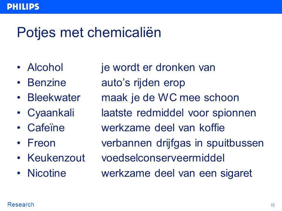 15 Research Potjes met chemicaliën Alcohol je wordt er dronken van Benzineauto's rijden erop Bleekwatermaak je de WC mee schoon Cyaankalilaatste redmi