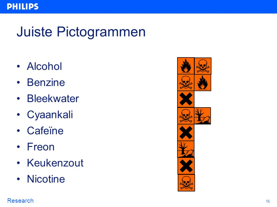 16 Research Juiste Pictogrammen Alcohol Benzine Bleekwater Cyaankali Cafeïne Freon Keukenzout Nicotine