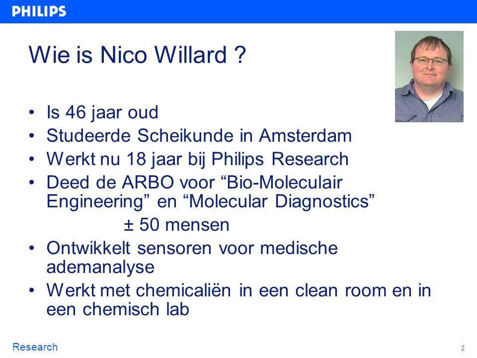 """2 Research Wie is Nico Willard ? Is 46 jaar oud Studeerde Scheikunde in Amsterdam Werkt nu 18 jaar bij Philips Research Deed de ARBO voor """"Bio-Molecul"""