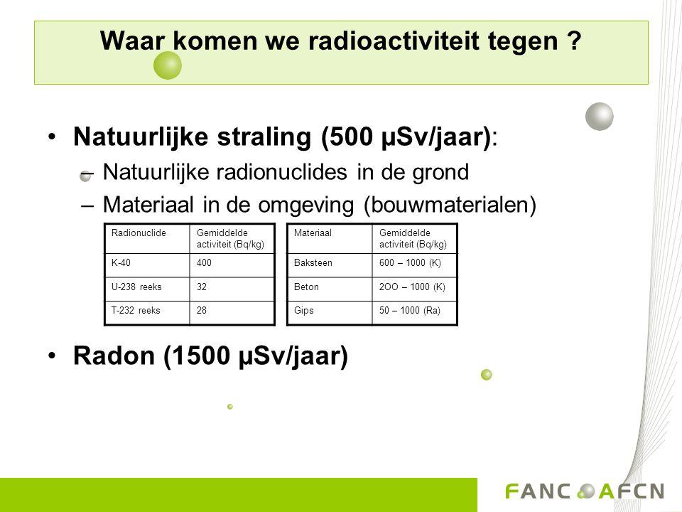 Waar komen we radioactiviteit tegen ? Natuurlijke straling (500 µSv/jaar): –Natuurlijke radionuclides in de grond –Materiaal in de omgeving (bouwmater