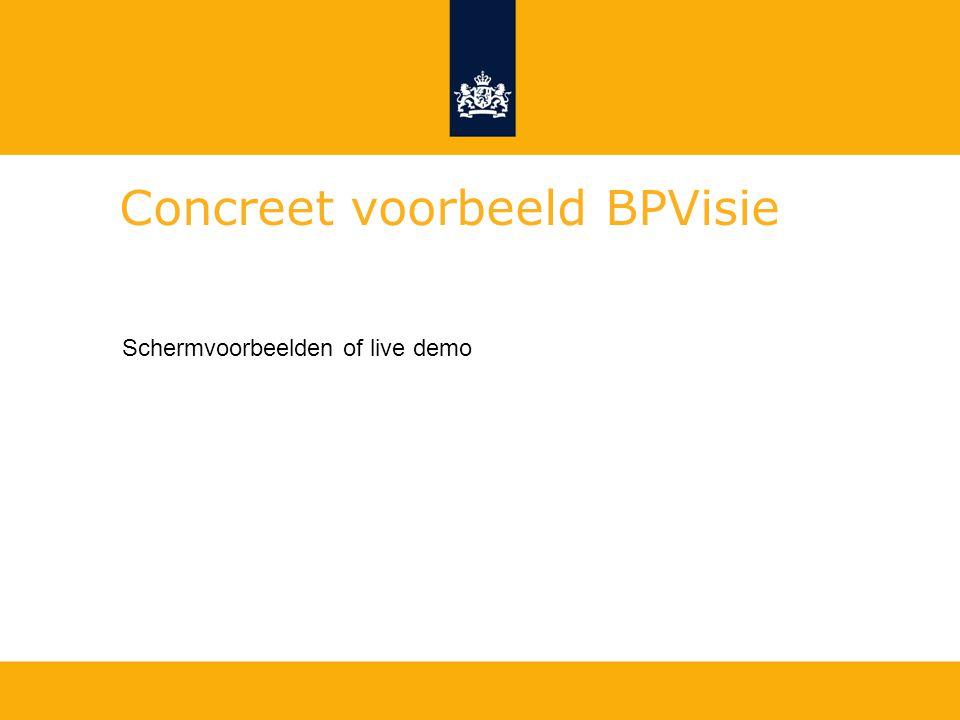 Concreet voorbeeld BPVisie Schermvoorbeelden of live demo