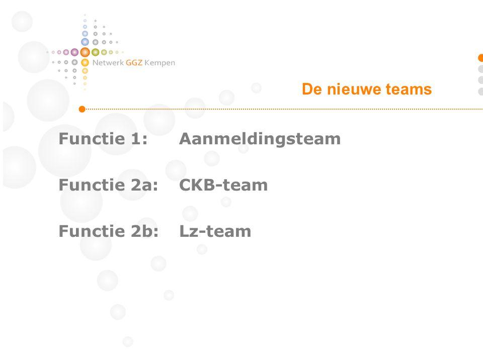 Functie 1:Aanmeldingsteam Functie 2a:CKB-team Functie 2b: Lz-team De nieuwe teams