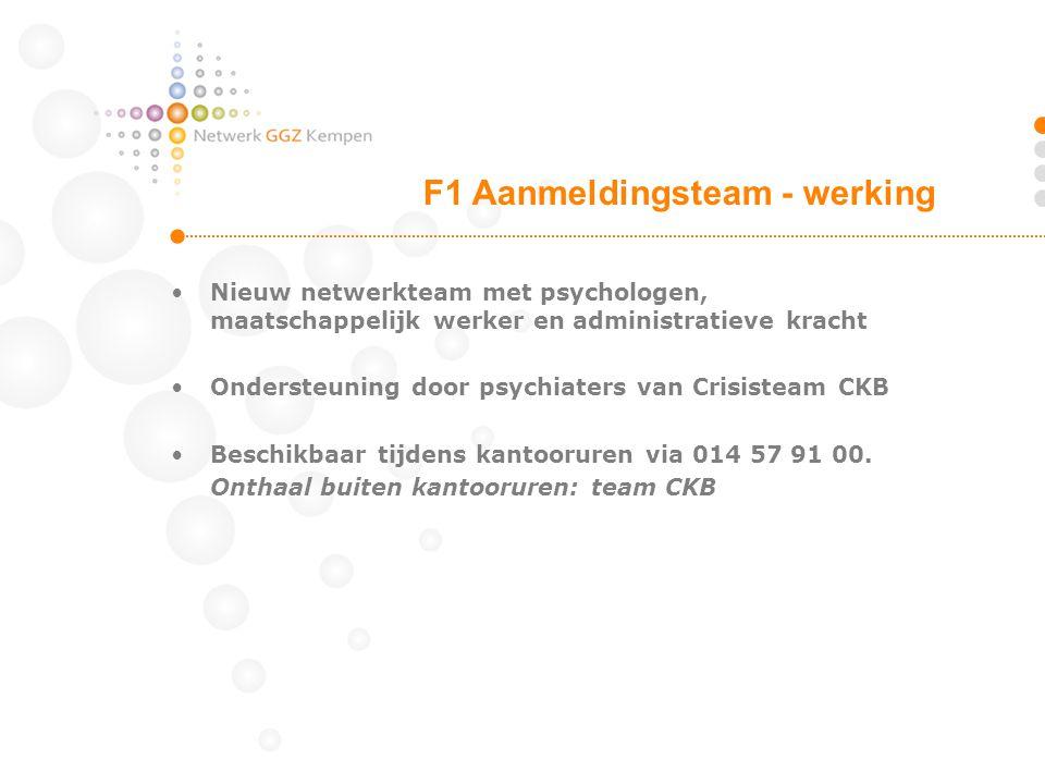 Nieuw netwerkteam met psychologen, maatschappelijk werker en administratieve kracht Ondersteuning door psychiaters van Crisisteam CKB Beschikbaar tijdens kantooruren via 014 57 91 00.