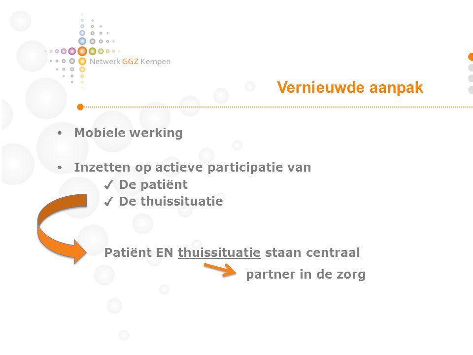  Mobiele werking  Inzetten op actieve participatie van ✔ De patiënt ✔ De thuissituatie Patiënt EN thuissituatie staan centraal partner in de zorg Vernieuwde aanpak