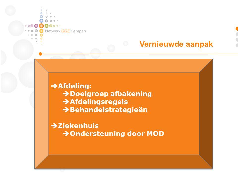  Afdeling:  Doelgroep afbakening  Afdelingsregels  Behandelstrategieën  Ziekenhuis  Ondersteuning door MOD  Afdeling:  Doelgroep afbakening  Afdelingsregels  Behandelstrategieën  Ziekenhuis  Ondersteuning door MOD