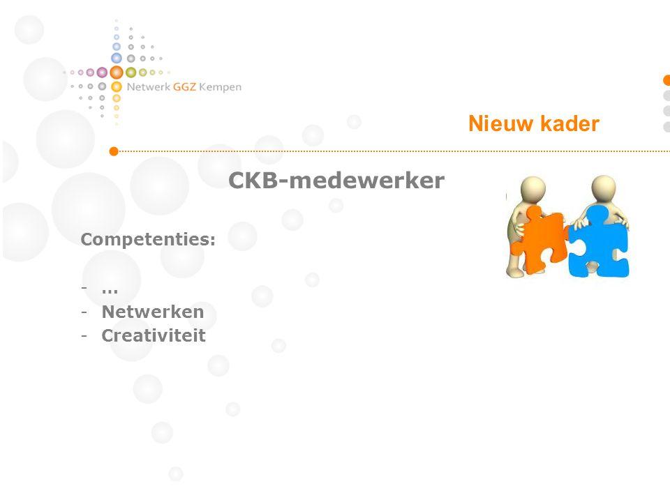 CKB-medewerker Competenties: -… -Netwerken -Creativiteit Nieuw kader