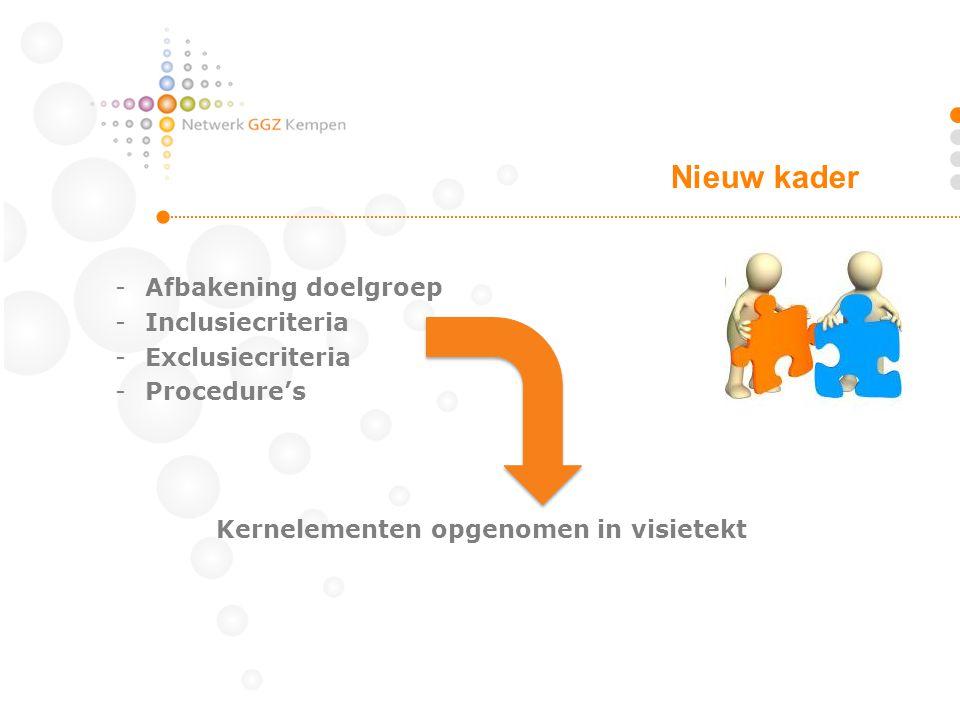 -Afbakening doelgroep -Inclusiecriteria -Exclusiecriteria -Procedure's Kernelementen opgenomen in visietekt Nieuw kader