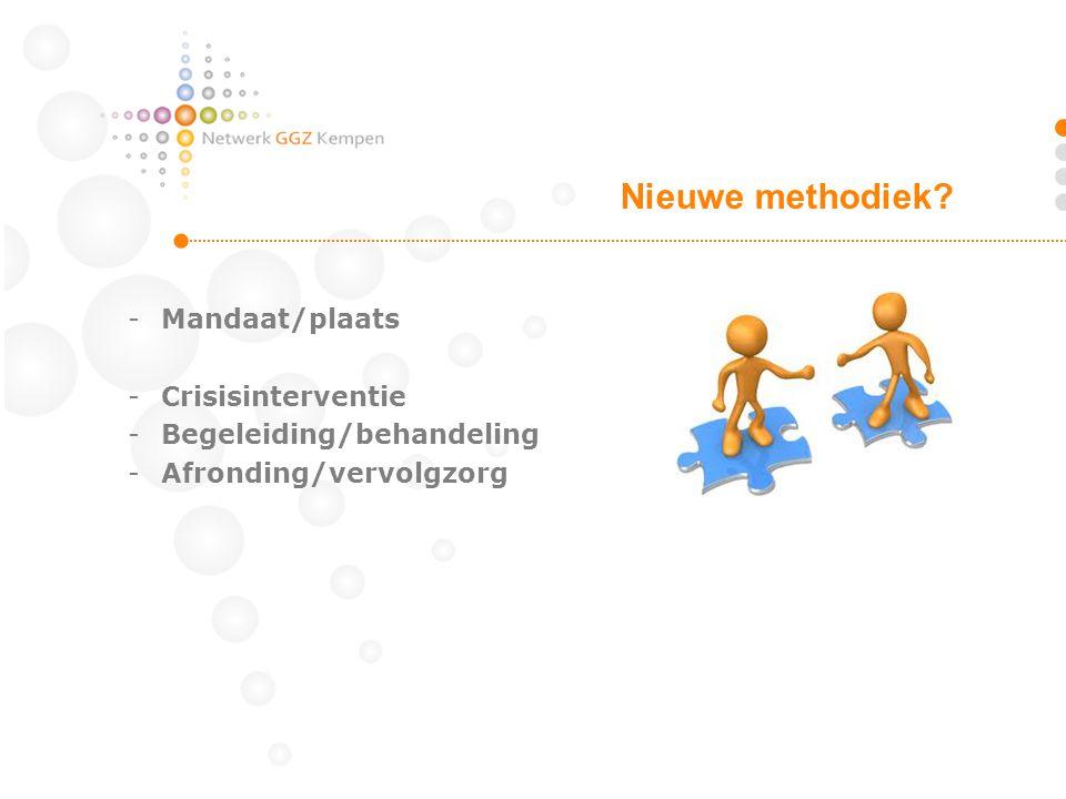 -Mandaat/plaats -Crisisinterventie -Begeleiding/behandeling -Afronding/vervolgzorg Nieuwe methodiek?