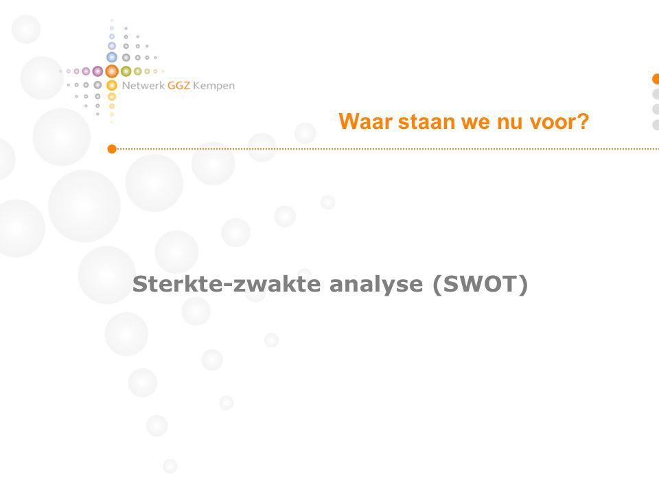 Sterkte-zwakte analyse (SWOT) Waar staan we nu voor?