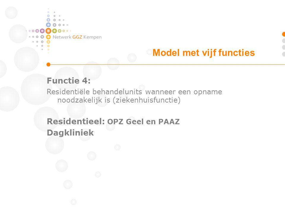 Functie 4: Residentiële behandelunits wanneer een opname noodzakelijk is (ziekenhuisfunctie) Residentieel: OPZ Geel en PAAZ Dagkliniek Model met vijf functies