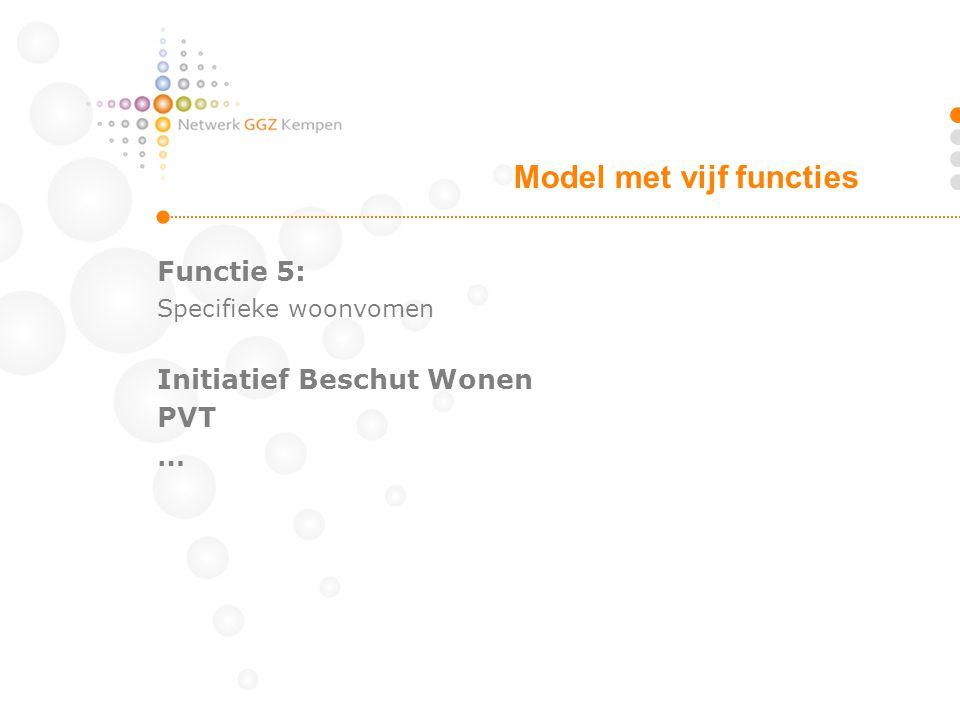 Functie 5: Specifieke woonvomen Initiatief Beschut Wonen PVT … Model met vijf functies