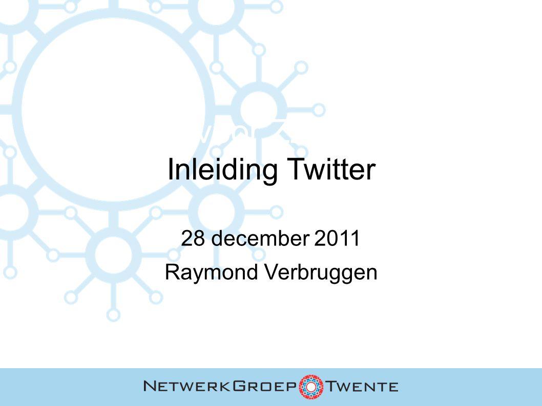 Inhoud Twitter: wie & wat Het nut van Twitter Aan de slag met Twitter Twitter Do's & Don'ts Twitter: de risico's Twitter & reclame Succesvoorbeelden & inspiratie Een paar laatste tips