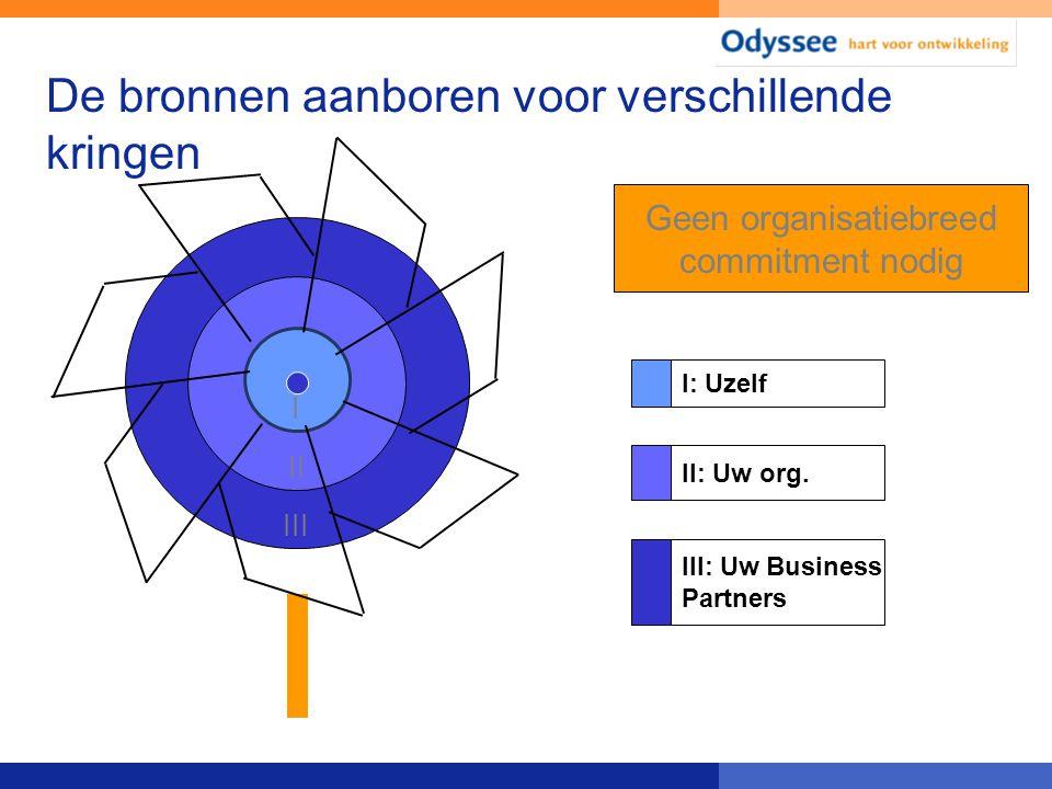 De bronnen aanboren voor verschillende kringen III II I Geen organisatiebreed commitment nodig I: Uzelf II: Uw org. III: Uw Business Partners