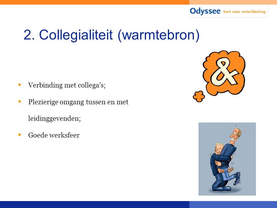 2. Collegialiteit (warmtebron)  Verbinding met collega's;  Plezierige omgang tussen en met leidinggevenden;  Goede werksfeer