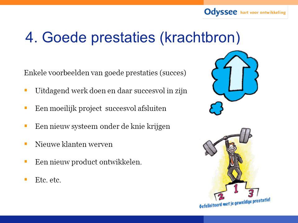 4. Goede prestaties (krachtbron) Enkele voorbeelden van goede prestaties (succes)  Uitdagend werk doen en daar succesvol in zijn  Een moeilijk proje