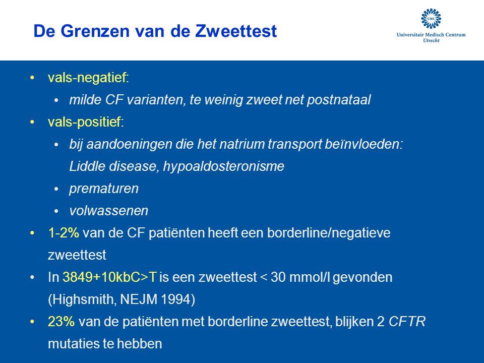 De Grenzen van de Zweettest vals-negatief: milde CF varianten, te weinig zweet net postnataal vals-positief: bij aandoeningen die het natrium transpor