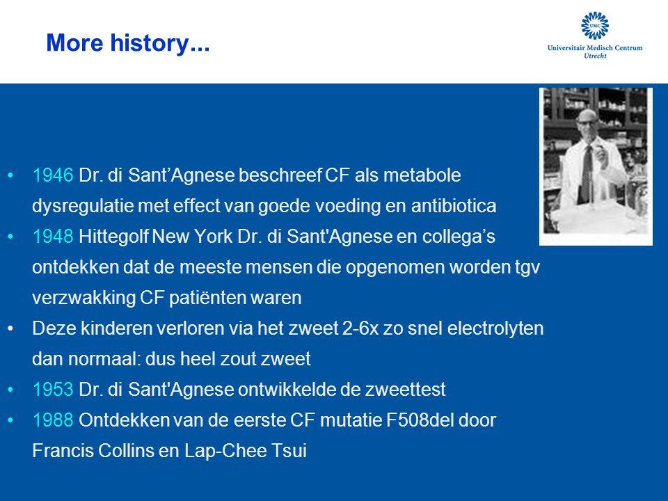 More history... 1946 Dr. di Sant'Agnese beschreef CF als metabole dysregulatie met effect van goede voeding en antibiotica 1948 Hittegolf New York Dr.