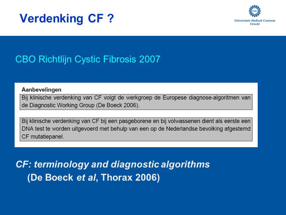 Verdenking CF ? CBO Richtlijn Cystic Fibrosis 2007 CF: terminology and diagnostic algorithms (De Boeck et al, Thorax 2006)