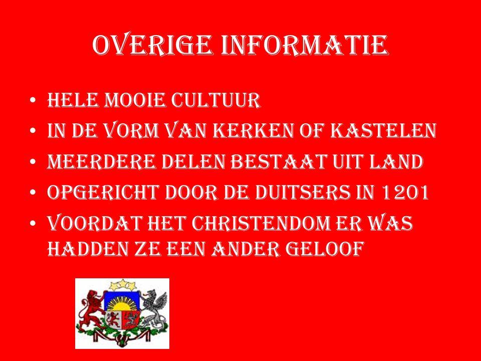 Overige informatie Hele mooie cultuur In de vorm van kerken of kastelen Meerdere delen bestaat uit land Opgericht door de duitsers in 1201 Voordat het christendom er was hadden ze een ander geloof