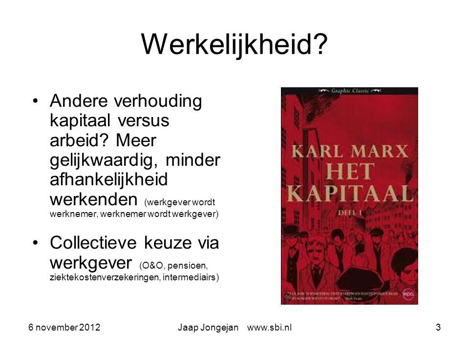6 november 2012Jaap Jongejan www.sbi.nl3 Werkelijkheid.