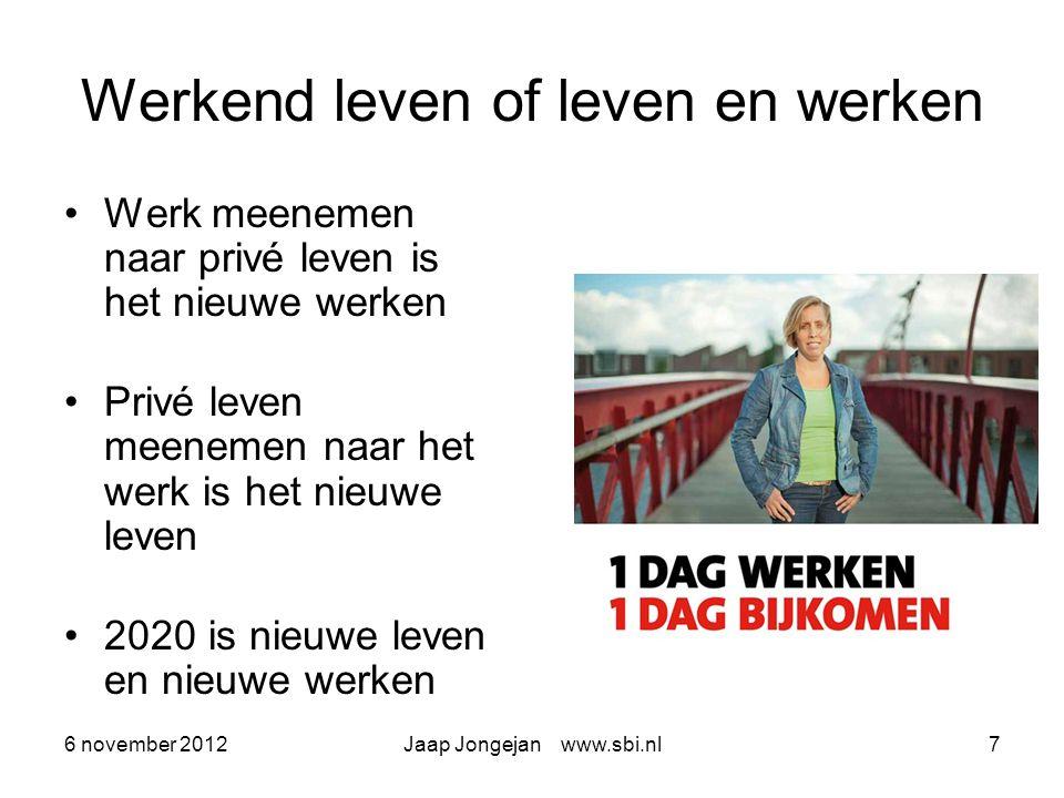 6 november 2012Jaap Jongejan www.sbi.nl8 Wonen waar je werkt of werken waar je woont Niet wonen waar het werk is, maar werken waar het goed wonen is Effect op randstad en provincie Wonen en werken onder één dak