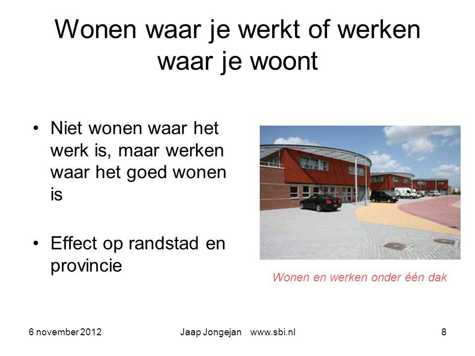 6 november 2012Jaap Jongejan www.sbi.nl9 Dus mensen investeren in Gezondheid Veilig werken Duurzaam (samen) leven