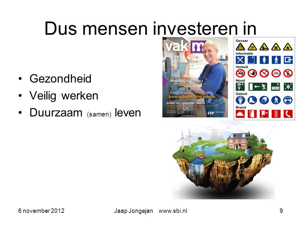 6 november 2012Jaap Jongejan www.sbi.nl10 Loopbaancoach 2020 Nieuwe werken, nieuwe wonen, nieuwe leven samen levert nieuwe basis en is dus het terrein van de nieuwe basiscoach