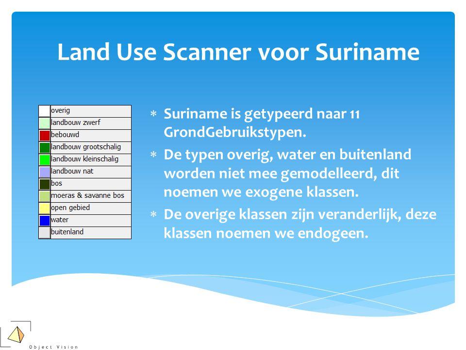 Land Use Scanner voor Suriname  Suriname is getypeerd naar 11 GrondGebruikstypen.