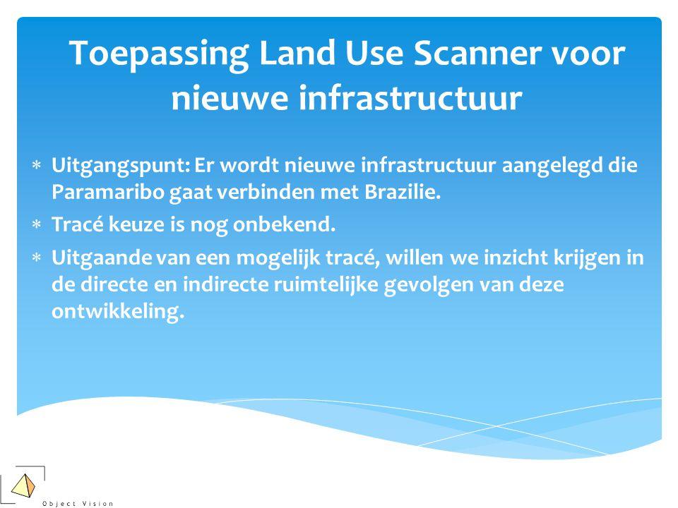 Toepassing Land Use Scanner voor nieuwe infrastructuur  Uitgangspunt: Er wordt nieuwe infrastructuur aangelegd die Paramaribo gaat verbinden met Brazilie.