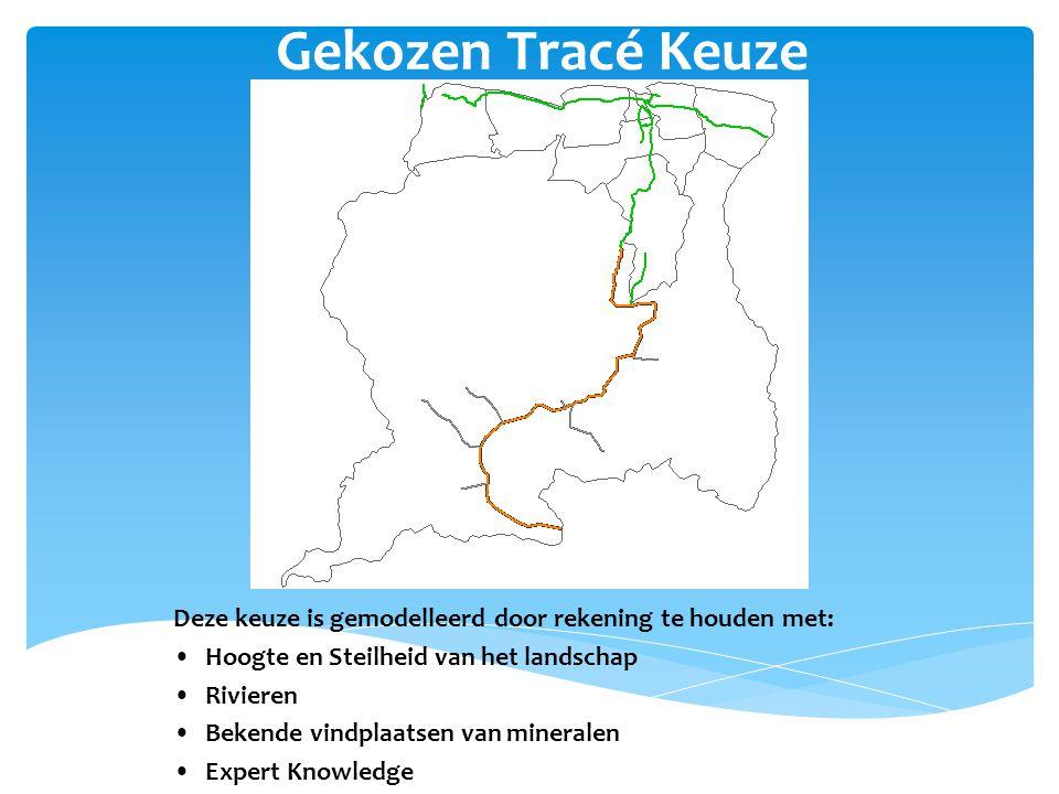 Gekozen Tracé Keuze Deze keuze is gemodelleerd door rekening te houden met: Hoogte en Steilheid van het landschap Rivieren Bekende vindplaatsen van mineralen Expert Knowledge