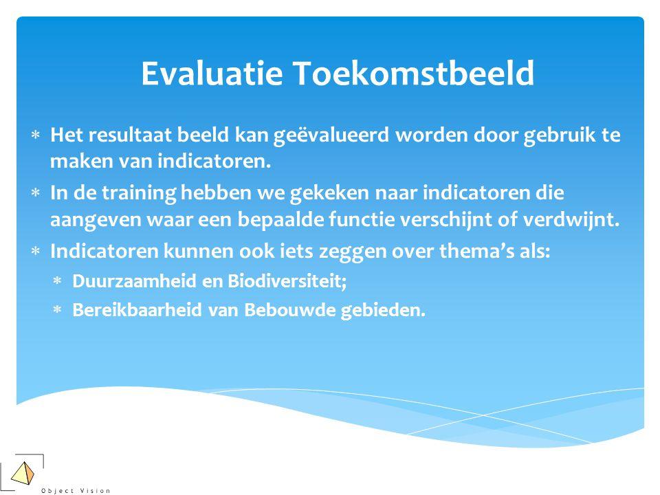 Evaluatie Toekomstbeeld  Het resultaat beeld kan geëvalueerd worden door gebruik te maken van indicatoren.