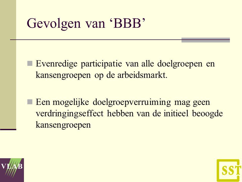 Gevolgen van 'BBB' Evenredige participatie van alle doelgroepen en kansengroepen op de arbeidsmarkt.