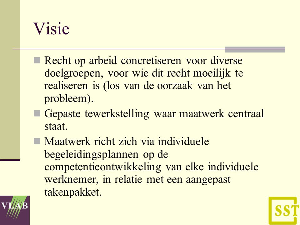 Visie Recht op arbeid concretiseren voor diverse doelgroepen, voor wie dit recht moeilijk te realiseren is (los van de oorzaak van het probleem).