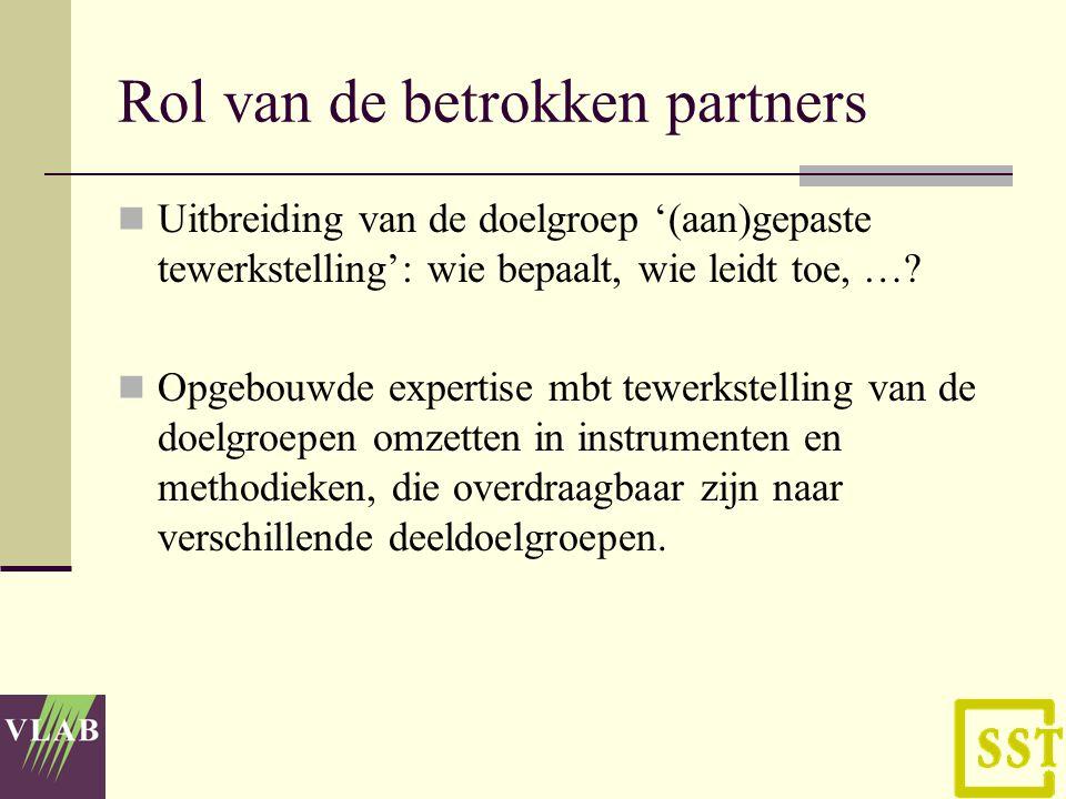 Rol van de betrokken partners Uitbreiding van de doelgroep '(aan)gepaste tewerkstelling': wie bepaalt, wie leidt toe, ….