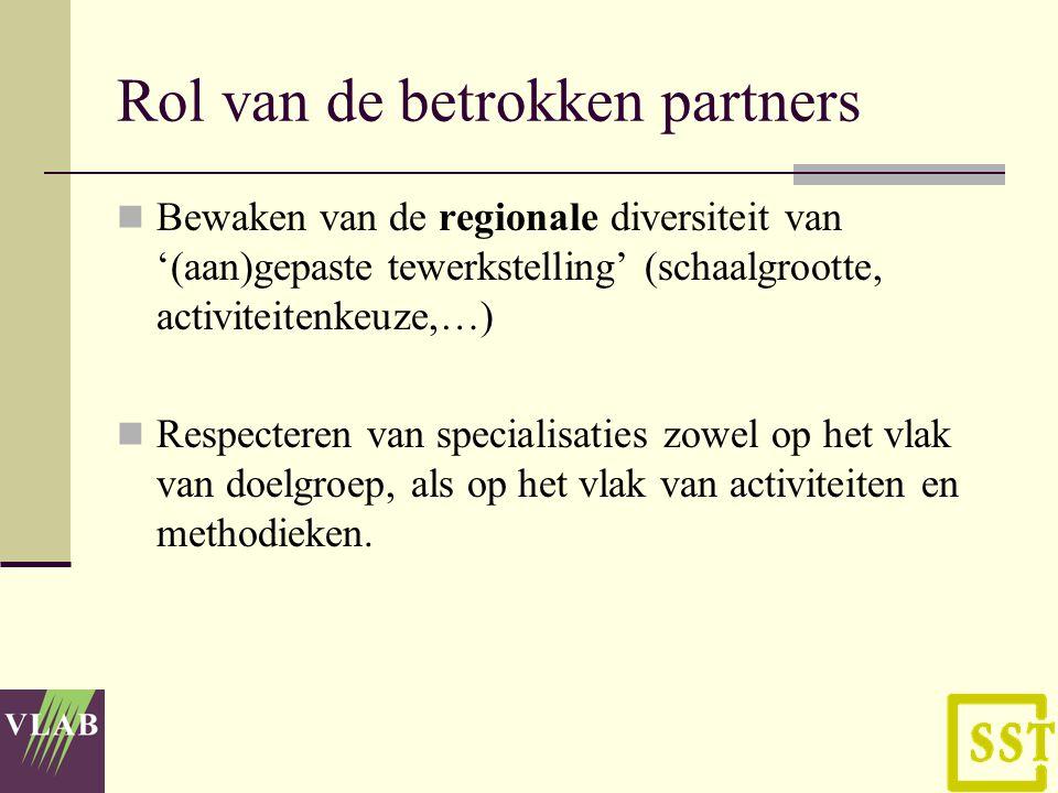 Rol van de betrokken partners Bewaken van de regionale diversiteit van '(aan)gepaste tewerkstelling' (schaalgrootte, activiteitenkeuze,…) Respecteren van specialisaties zowel op het vlak van doelgroep, als op het vlak van activiteiten en methodieken.