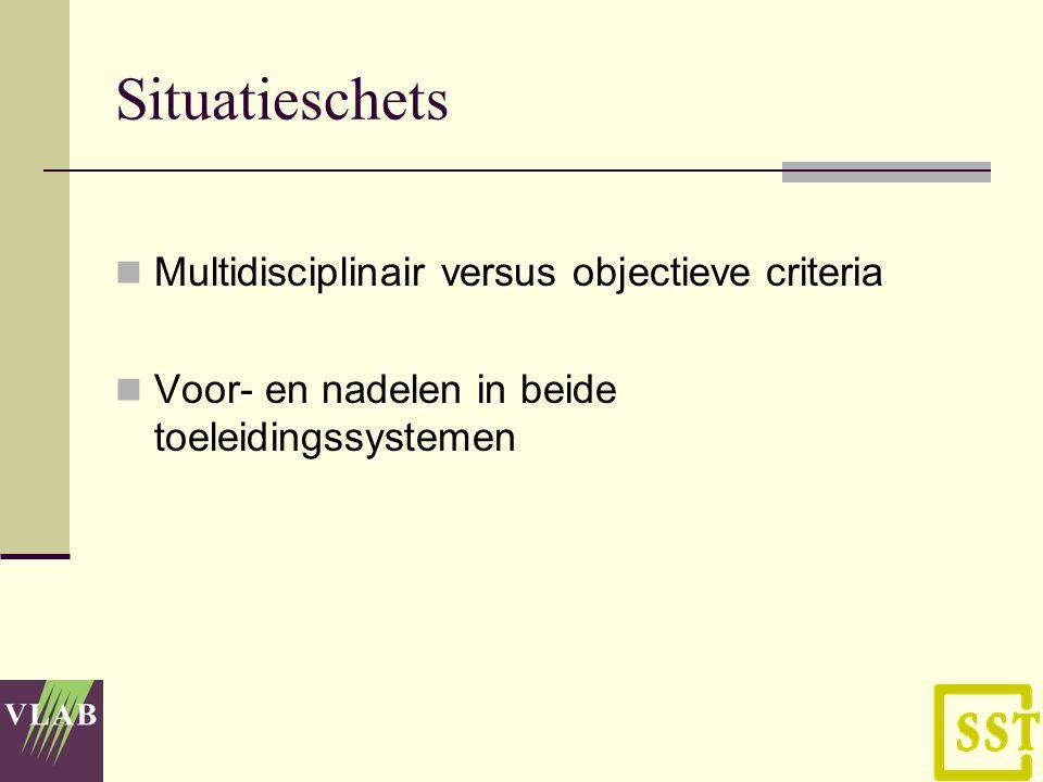 Situatieschets Multidisciplinair versus objectieve criteria Voor- en nadelen in beide toeleidingssystemen