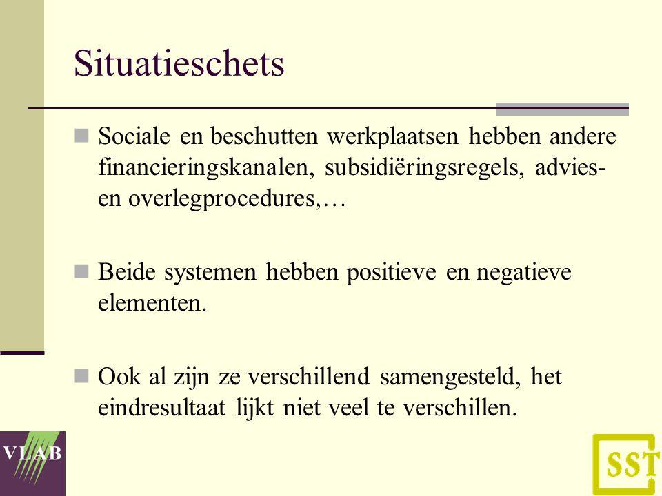Situatieschets Sociale en beschutten werkplaatsen hebben andere financieringskanalen, subsidiëringsregels, advies- en overlegprocedures,… Beide systemen hebben positieve en negatieve elementen.