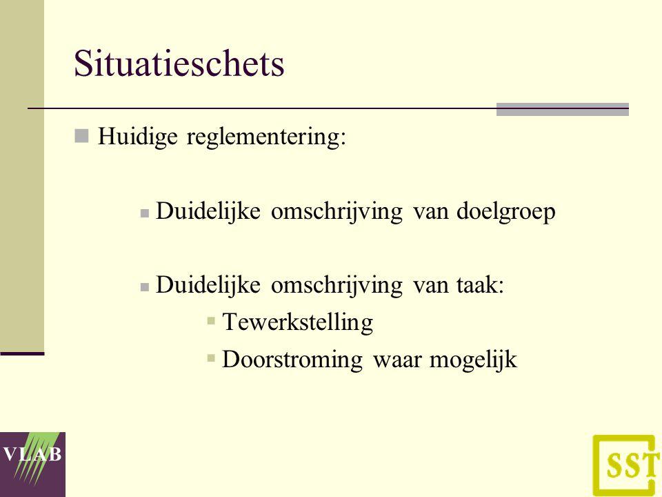 Situatieschets Huidige reglementering: Duidelijke omschrijving van doelgroep Duidelijke omschrijving van taak:  Tewerkstelling  Doorstroming waar mogelijk