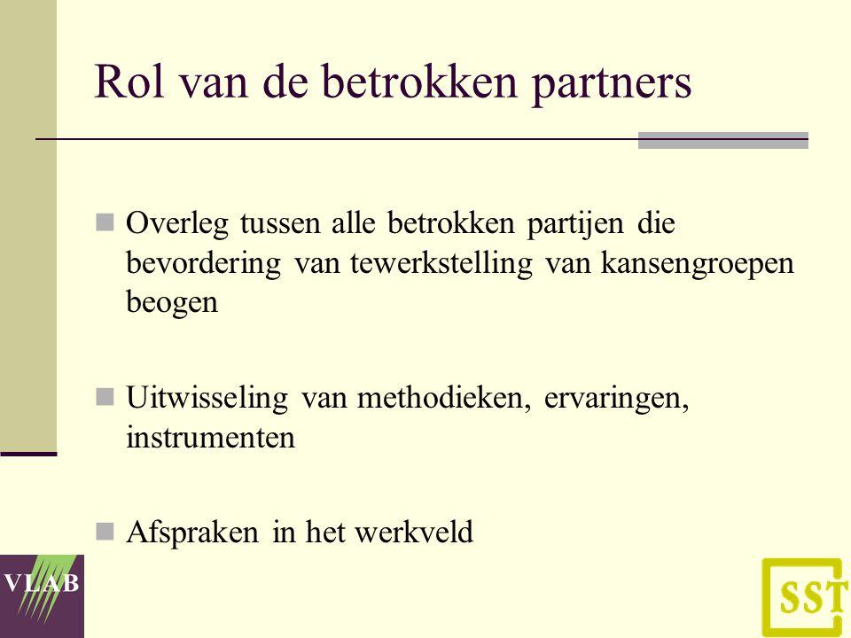 Rol van de betrokken partners Een voorwaardenscheppend kader bewerkstelligen zodat de '(aan)gepaste tewerkstelling' zich binnen een leefbare context kan ontwikkelen.