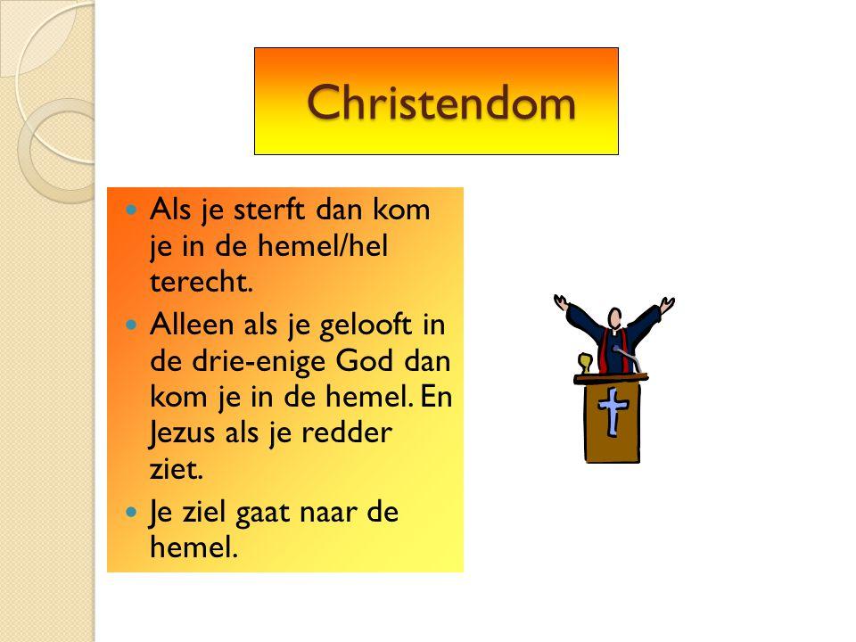Christendom Christendom Als je sterft dan kom je in de hemel/hel terecht. Alleen als je gelooft in de drie-enige God dan kom je in de hemel. En Jezus
