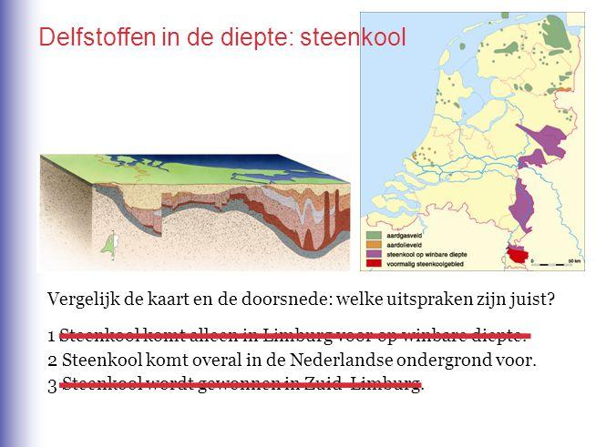 Vergelijk de kaart en de doorsnede: welke uitspraken zijn juist? 1 Steenkool komt alleen in Limburg voor op winbare diepte. 2 Steenkool komt overal in