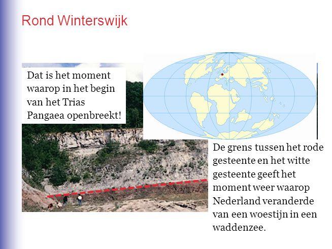 In de omgeving van Winterswijk in de Achterhoek. Rond Winterswijk De grens tussen het rode gesteente en het witte gesteente geeft het moment weer waar