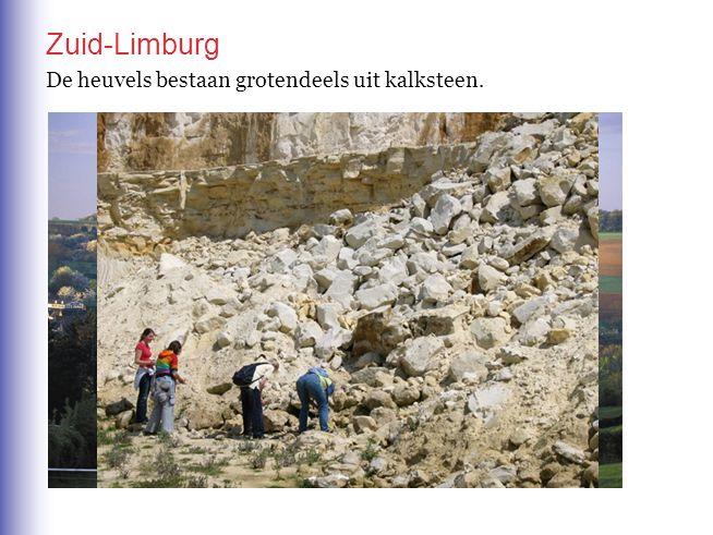 Het Zuid-Limburgse landschap wordt gekenmerkt door heuvels Zuid-Limburg De heuvels bestaan grotendeels uit kalksteen.