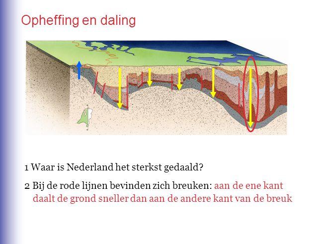 Opheffing en daling 1 Waar is Nederland het sterkst gedaald? 2 Bij de rode lijnen bevinden zich breuken: aan de ene kant daalt de grond sneller dan aa