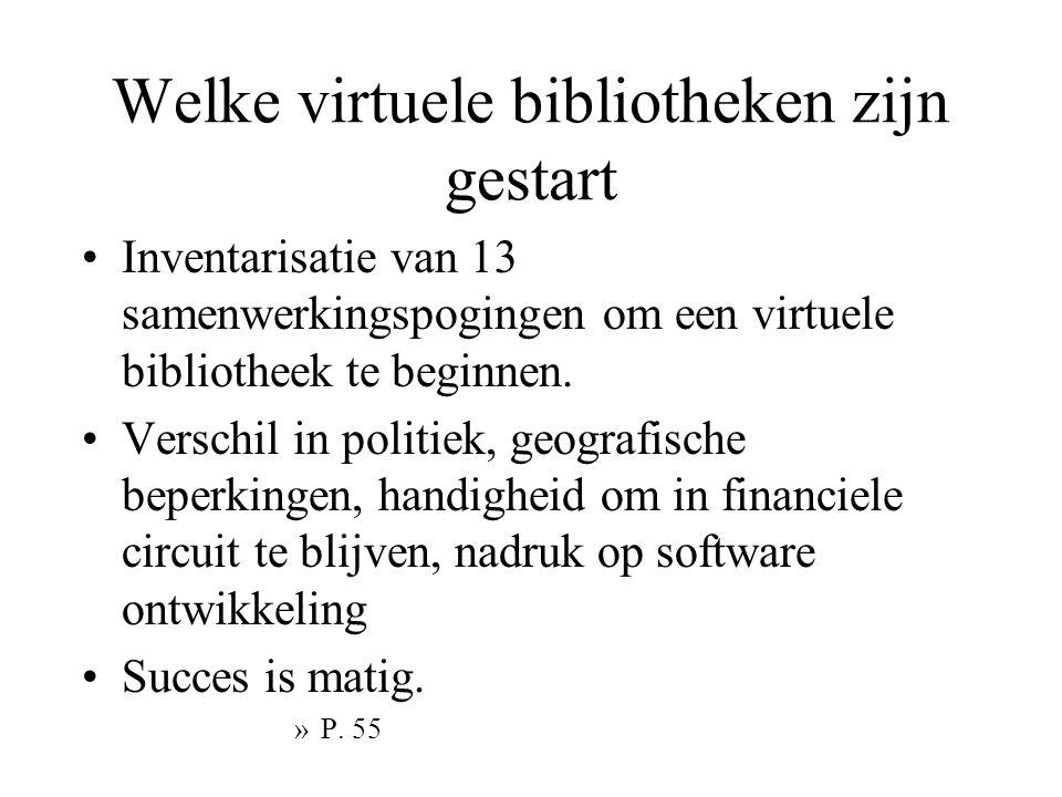 Welke virtuele bibliotheken zijn gestart Inventarisatie van 13 samenwerkingspogingen om een virtuele bibliotheek te beginnen.