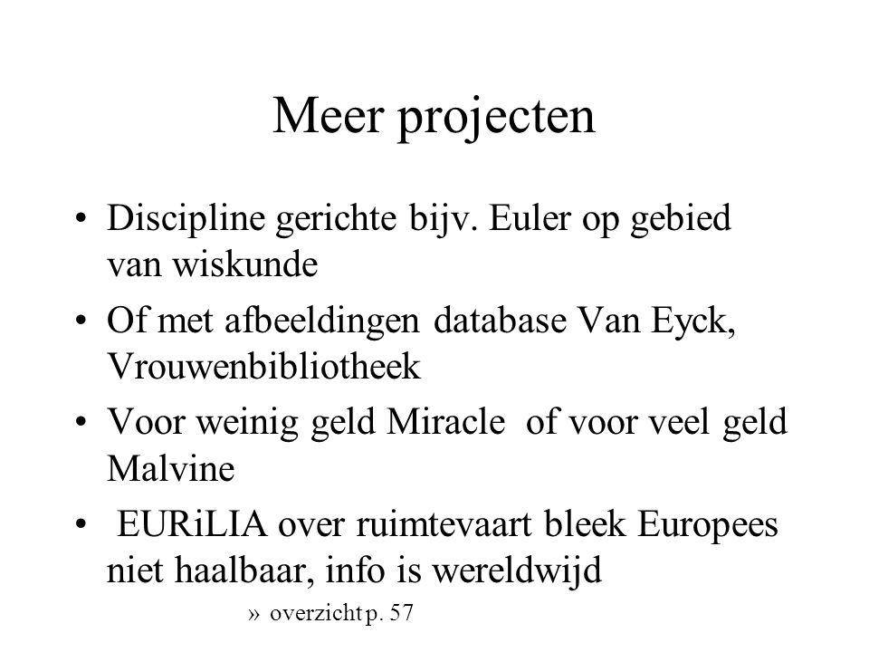 Meer projecten Discipline gerichte bijv. Euler op gebied van wiskunde Of met afbeeldingen database Van Eyck, Vrouwenbibliotheek Voor weinig geld Mirac