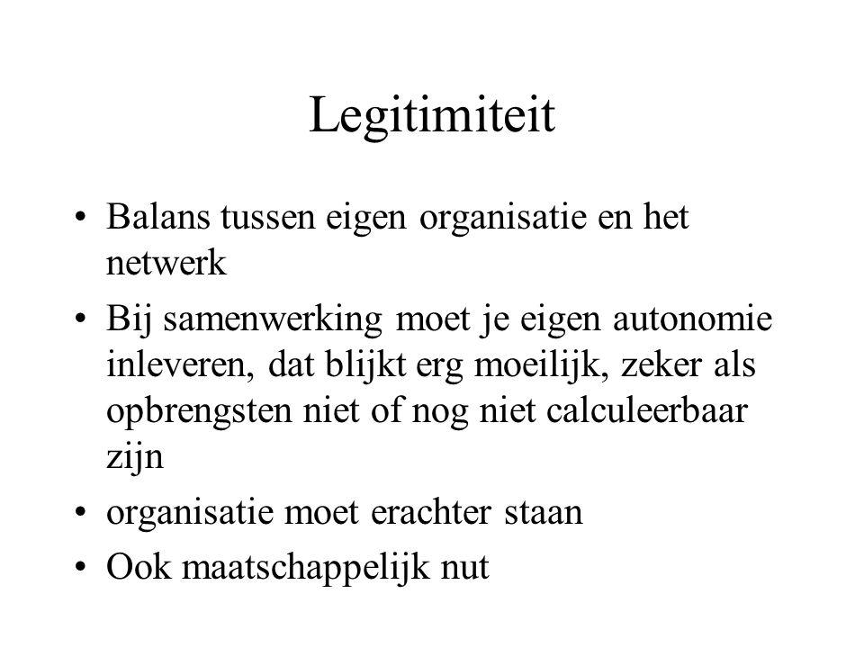 Legitimiteit Balans tussen eigen organisatie en het netwerk Bij samenwerking moet je eigen autonomie inleveren, dat blijkt erg moeilijk, zeker als opbrengsten niet of nog niet calculeerbaar zijn organisatie moet erachter staan Ook maatschappelijk nut